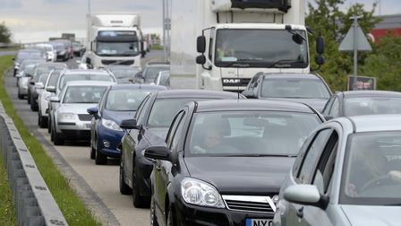 Queuing on the access to Braintree Freeport. Picture: PAGEPIX