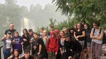 Ely College students in Kenya as part of the African Adventures trip. Here, they are pictured At Tho