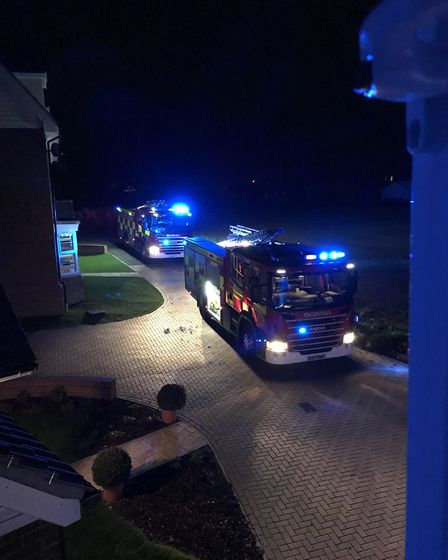 Firefighters tackle a blaze at Great Dunmow Recreation Ground. Picture: HANNAH WOODHEAD
