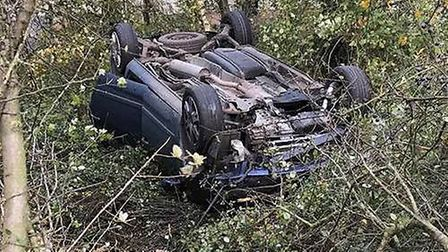 Woman and daughter escape injury after wind blows their car off A141 PHOTO: Fen Cops