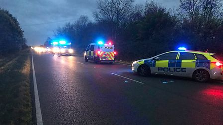 A mother and her six year old daughter had a lucky escape when their car left the A141 and overturne