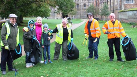 Thirty six volunteers from scouts to councillors litter picking the streets Ely and making sure it w