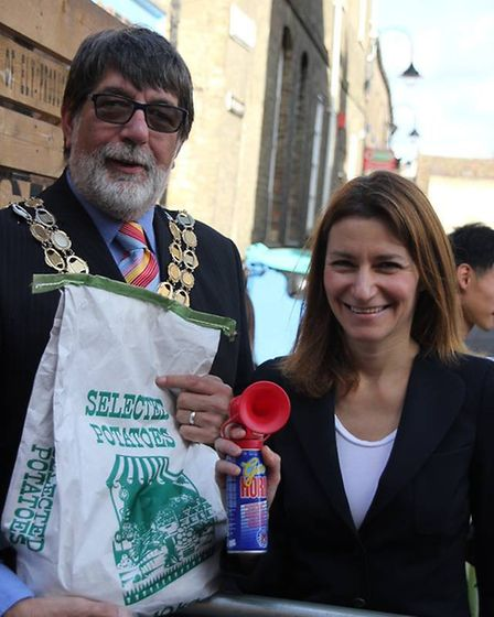 The Mayor of Ely, Councillor Richard Hobbs and SE Cambs MP, Lucy Frazer, at the Ely Potato Race. Pho
