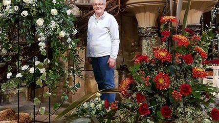 Judy and her team from the Ely Cathedral Flower Guild busy decorating the Cathedral ready for Harves