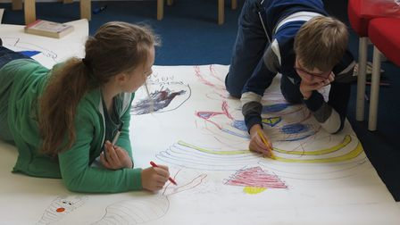 Working on giant Dundoodles. Picture: CATHERINE MUMMERY