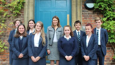 King's Ely students get debating to reach the House of Commons. Here, they are pictured with Lucy Fr