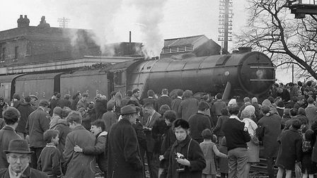 Hundreds turned out to welcome the Flying Scotsman to Ely in 1969 - and a similar sized crowd was le