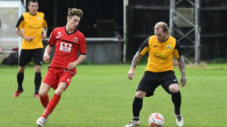 Action from March Town's 2-0 defeat to AFC Sudbury Reserves. Photo: IAN CARTER