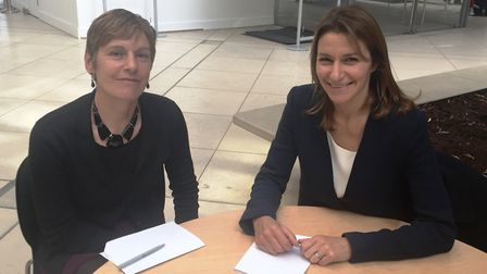 SE Cambridgeshire MP Lucy Frazer (right) with Connecting Cambridgeshire programme director, Noelle G