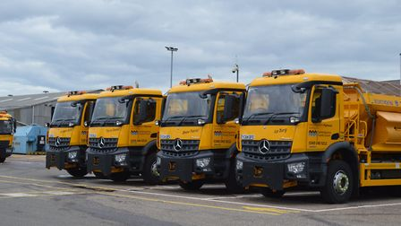 Cambridgeshire County Council's fleet of 37 gritters ready for winter.