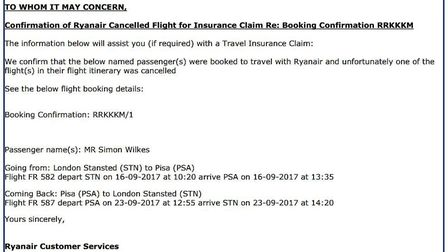 Confirmation of Simon Wilkes' cancelled flight sent to him via email from Ryanair.