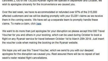 The travel voucher that Simon Wilkes received from Ryan Air.