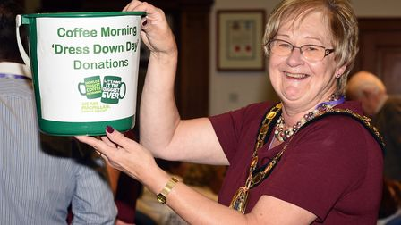 Chairman of Fenland District Council, Councillor Kay Mayor at the council's Macmillan Coffee Morning