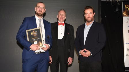 Fenland Enterprise Business Awards 2017:Stephen Turner accepts the awards from Graham Buck. With Joz