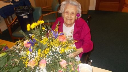 Edna Roose celebrates her 100th birthday at Lily House in Ely.