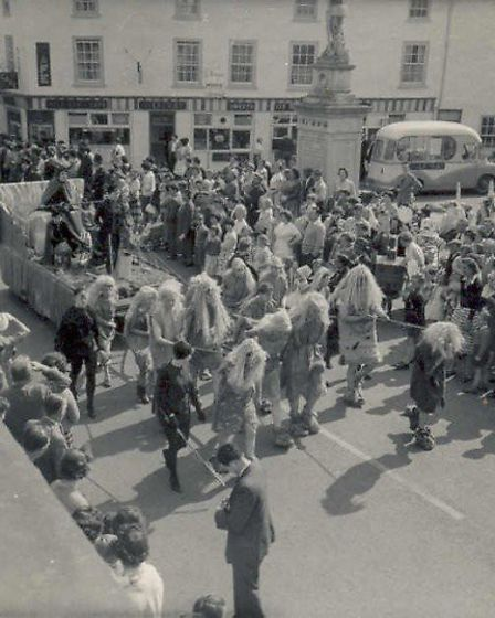 Soham carnival parade passes in front of the Milkiway cafe and ice cream parlour that Edna Roose use