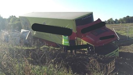 A lorry came off the road and ended up in a ditch on the A14 westbound towards Bar Hill this morning