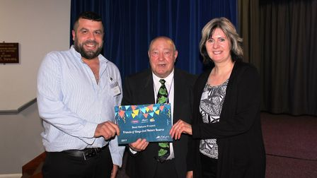 Rob Phipps and Sandra Mortlock, from Friends of Rings End Nature Reserve, receive award for Best Nat