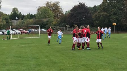 West Wratting celebrate one of their three goals in their win over Chatteris Town on Saturday. Photo