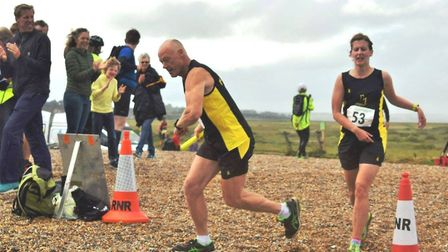 Barry Graves and Charlotte Cook in action at the Round Norfolk Relay earlier this month.