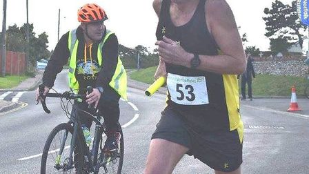 Steve Starr and Andy Thompson of Ely Runners at the Round Norfolk Relay.
