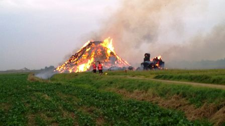 Arsonists drive car into stack of straw and set it ablaze near to Mepal Outdoor Centre just off the