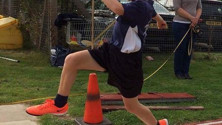 March Athletics Club youngster Matthew Gardner at the Biggleswade Track and Field competition.