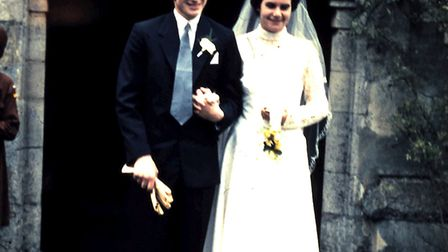 Ernie and Olive Hall on their wedding day at Wisbech St Mary church