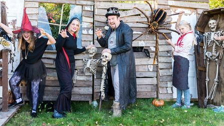 Getting ready to scare you: Evie Lawrence (witch), Natalie Ellis (vampire), Simon Watkins (a sinist