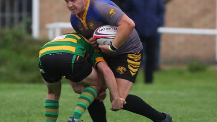 Nathan Brooks charges forward in Ely Tigers' 25-8 victroy over Crusaders. Photo: STEVE WELLS