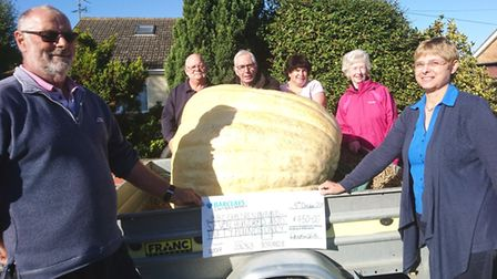 John Richardson (left) and his wife Sandra (right) pictured with fellow allotment holders who helped