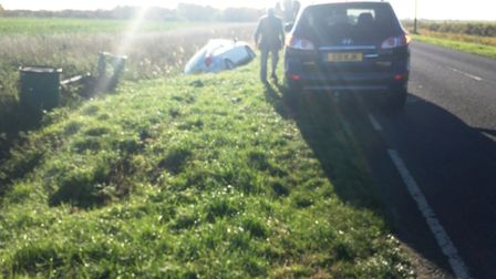 Driver, 90, escapes injury after his car leaves A1101 near Welney.