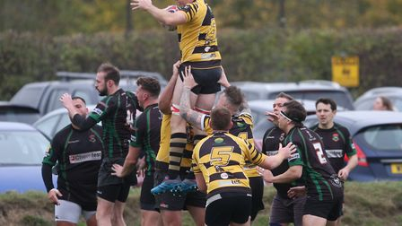 Jon Dibb wins the ball from a line-out. Photo: Steve Wells