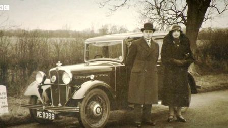 Percy Titmous and his wife Gertrude pictured with their car. The photograph featured in the BBC Anti