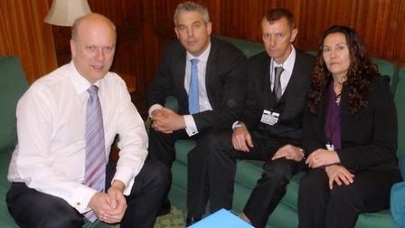 Tina Butcher and Steve Green met justice secretary Chris Grayling, left, with NE Cambs MP Steve Barc