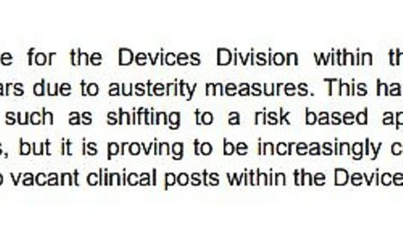 The MHRA admits that austerity measures are challenging in the medical device department. Sling The