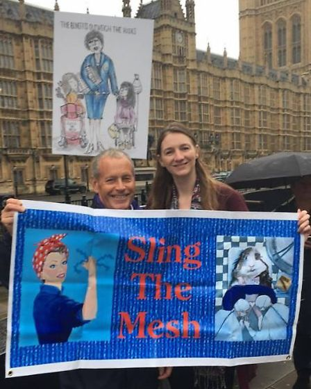 Sling the Mesh campaigners outside the Houses of Parliament today ahead of Westminster debate. PHOTO