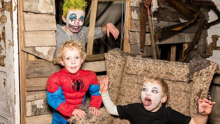 Ghostly goings on with Toby, Oliver and Ben Simons. Picture: SAFFRON PHOTO