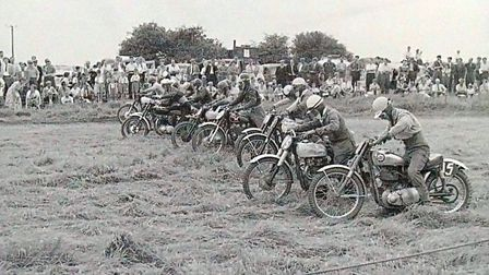A photo, we believe, from the 1950s of scrambling in East Cambs, The photo is of a group of riders