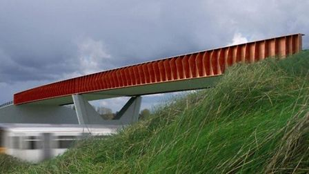 Ely Bypass. Rail bridge visualisation from south.