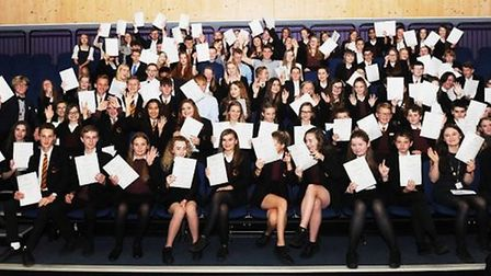 Neale-Wade Academy students pictured at the college's fifth annual awards evening on Thursday Octobe