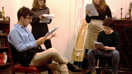 The cast of The Memory of Water in rehearsals