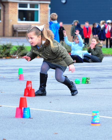 Cavalry Primary School are attemping a sport stacking Guinness World Record. PHOTO: Harry Rutter