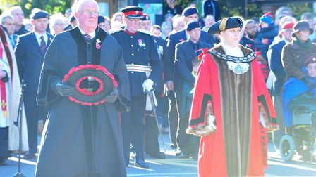 March Remembrance Day 2017 - Cllr Kit Owen (Left) Mayor, Cllr Kim French (Right) PHOTO: Harry Rutter