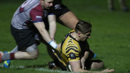 Matt McCarthy touches down the opening try in Ely Tigers' 31-12 win over West Norfolk. Photo: Steve