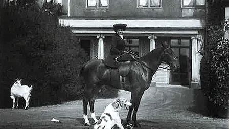 The Countess of Warwick on horseback at Easton Lodge. Picture: SWORDERS