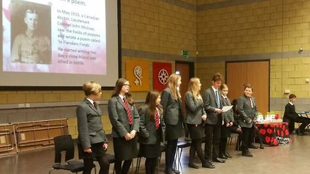 Students at Ely College raised money for the Poppy Appeal and held a two-minutes silence on Friday m
