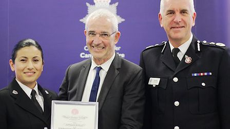SC Selly Rowles receiving her Royal Human Society Resuscitation Certificate from Tom Sullivan, who s