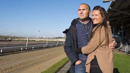Luke Chapman with his wife Annabelle at Yarmouth Stadium. Luke suffered a cardiac arrest whilst att