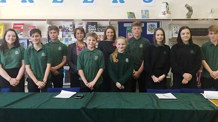 SE Cambs MP Lucy Frazer at Bottisham Village College. The MP was there to help judge the next in the